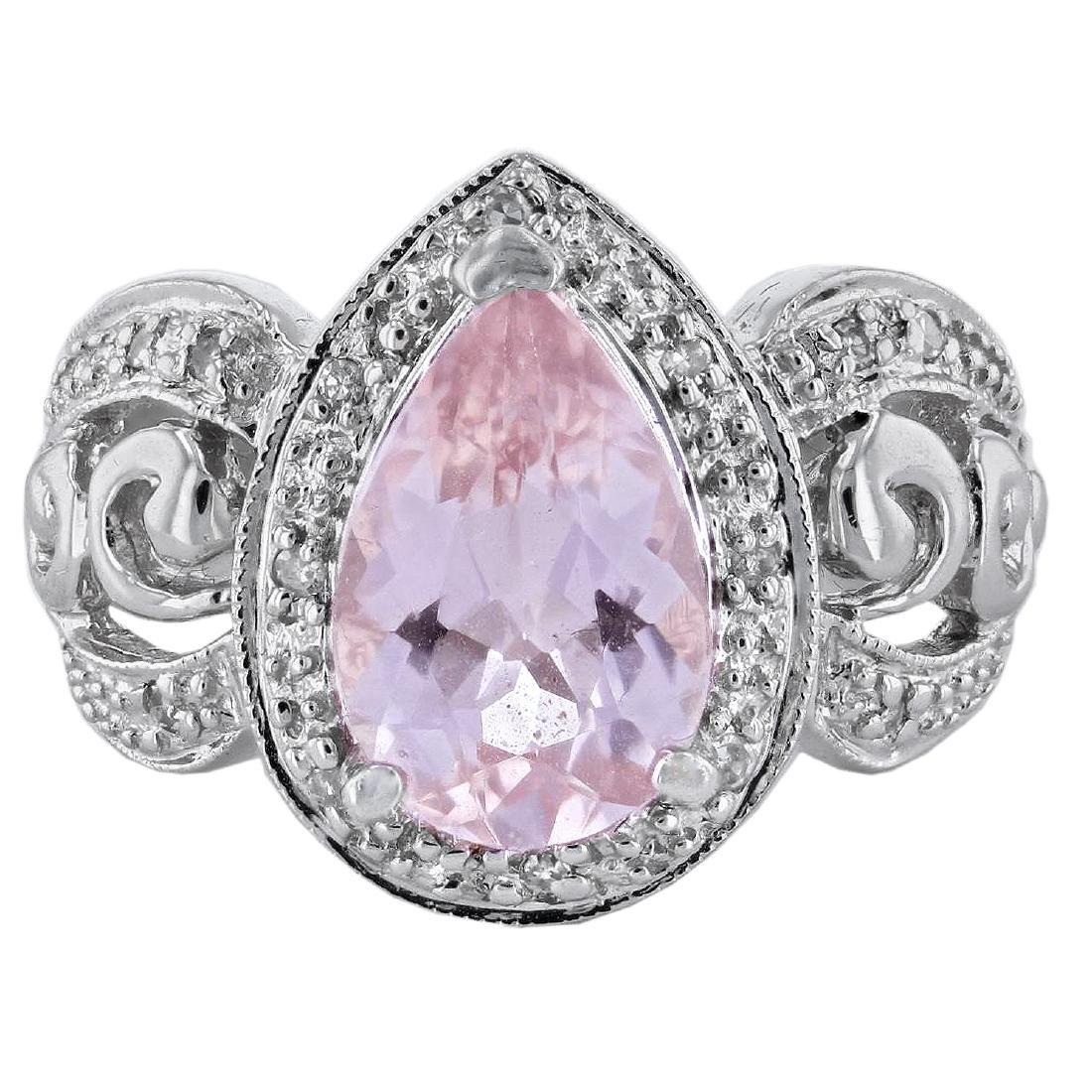 14KT White Gold 3.20ct Morganite and Diamond Ring