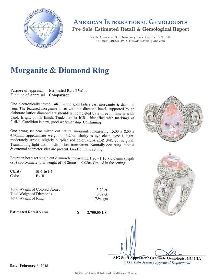 14KT White Gold 3.20ct Morganite and Diamond Ring - 4
