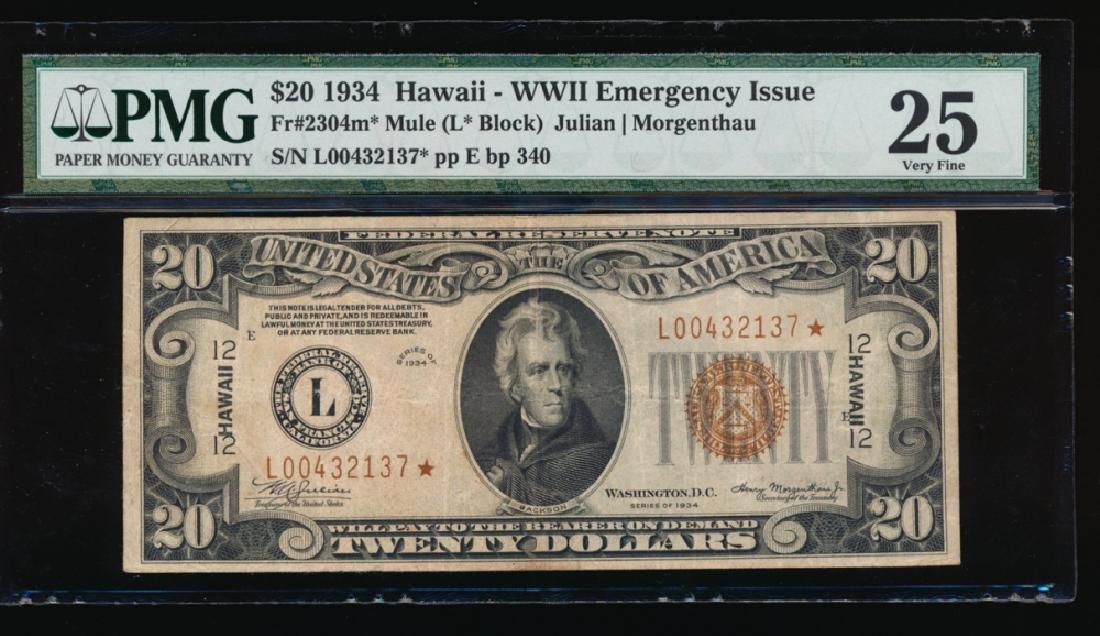 1934 $20 Hawaii Mule Star Federal Reserve Note PMG 25
