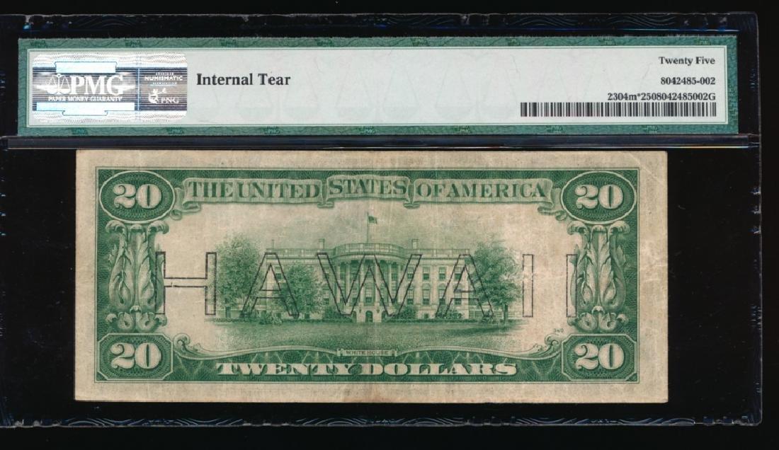 1934 $20 Hawaii Mule Star Federal Reserve Note PMG 25 - 2