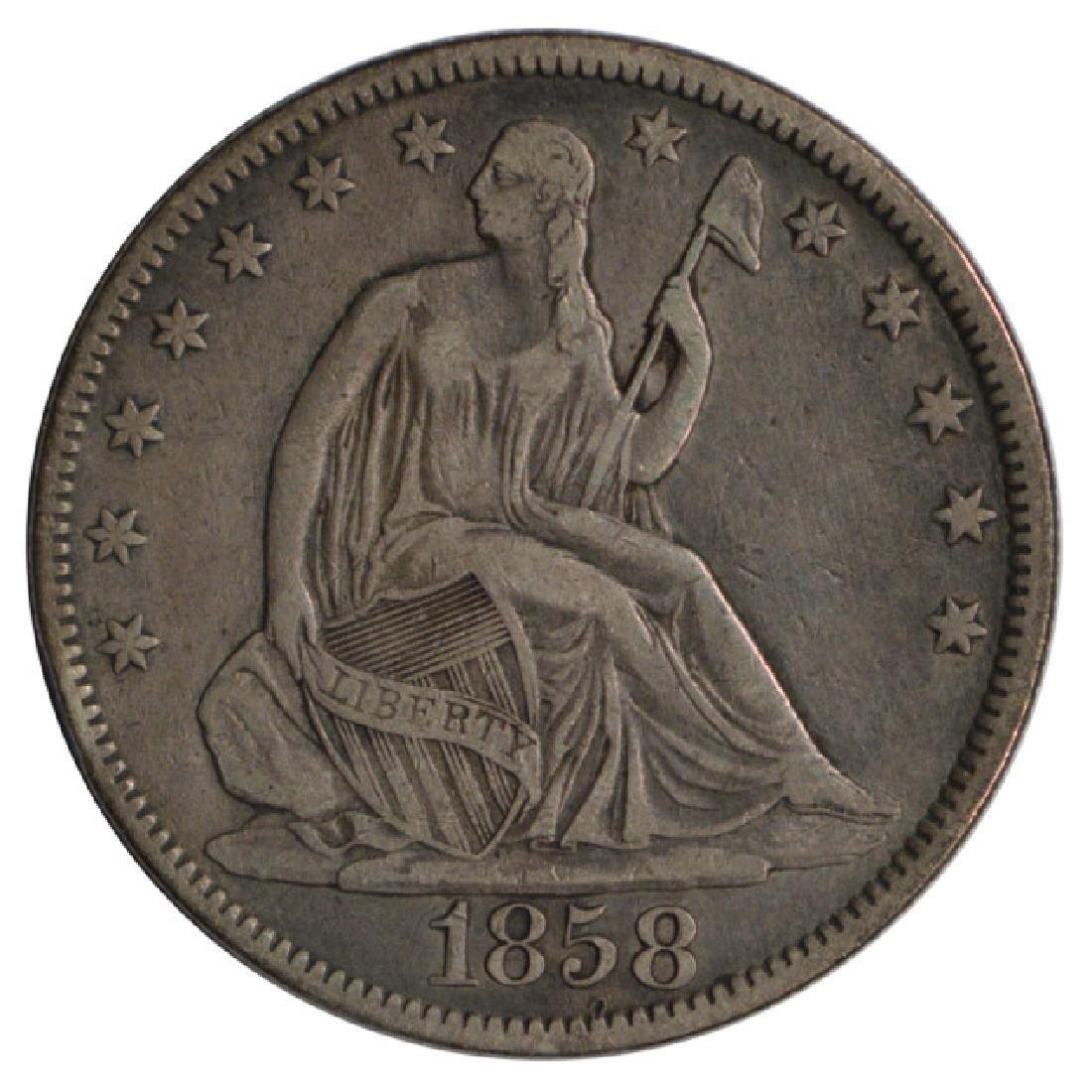 1858 Seated Liberty Half Dollar Coin