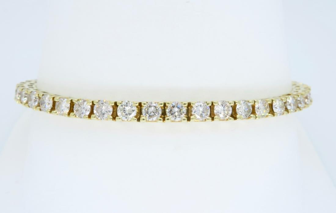 14KT Yellow Gold 6.00ctw Diamond Tennis Bracelet - 4