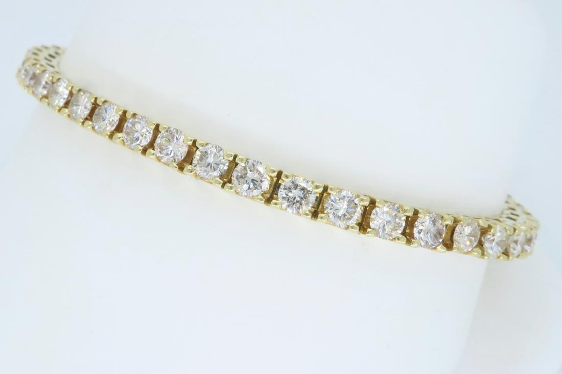 14KT Yellow Gold 6.00ctw Diamond Tennis Bracelet - 5