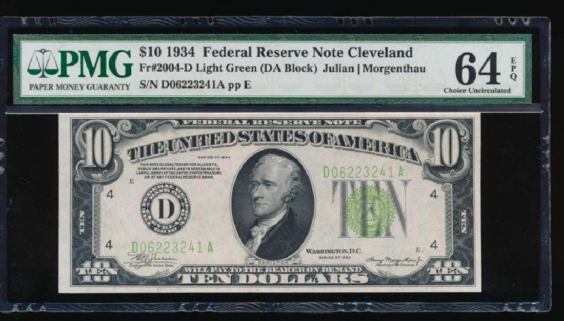 1934 $10 Cleveland Federal Reserve Note PMG 64EPQ