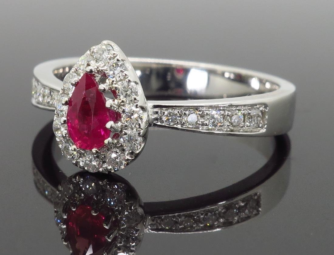 14KT White Gold 0.40ctw Ruby and Diamond Ring - 2