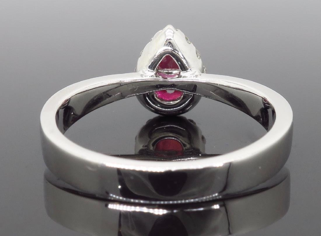 14KT White Gold 0.40ctw Ruby and Diamond Ring - 3