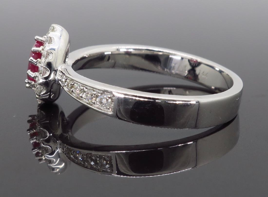 14KT White Gold 0.40ctw Ruby and Diamond Ring - 5