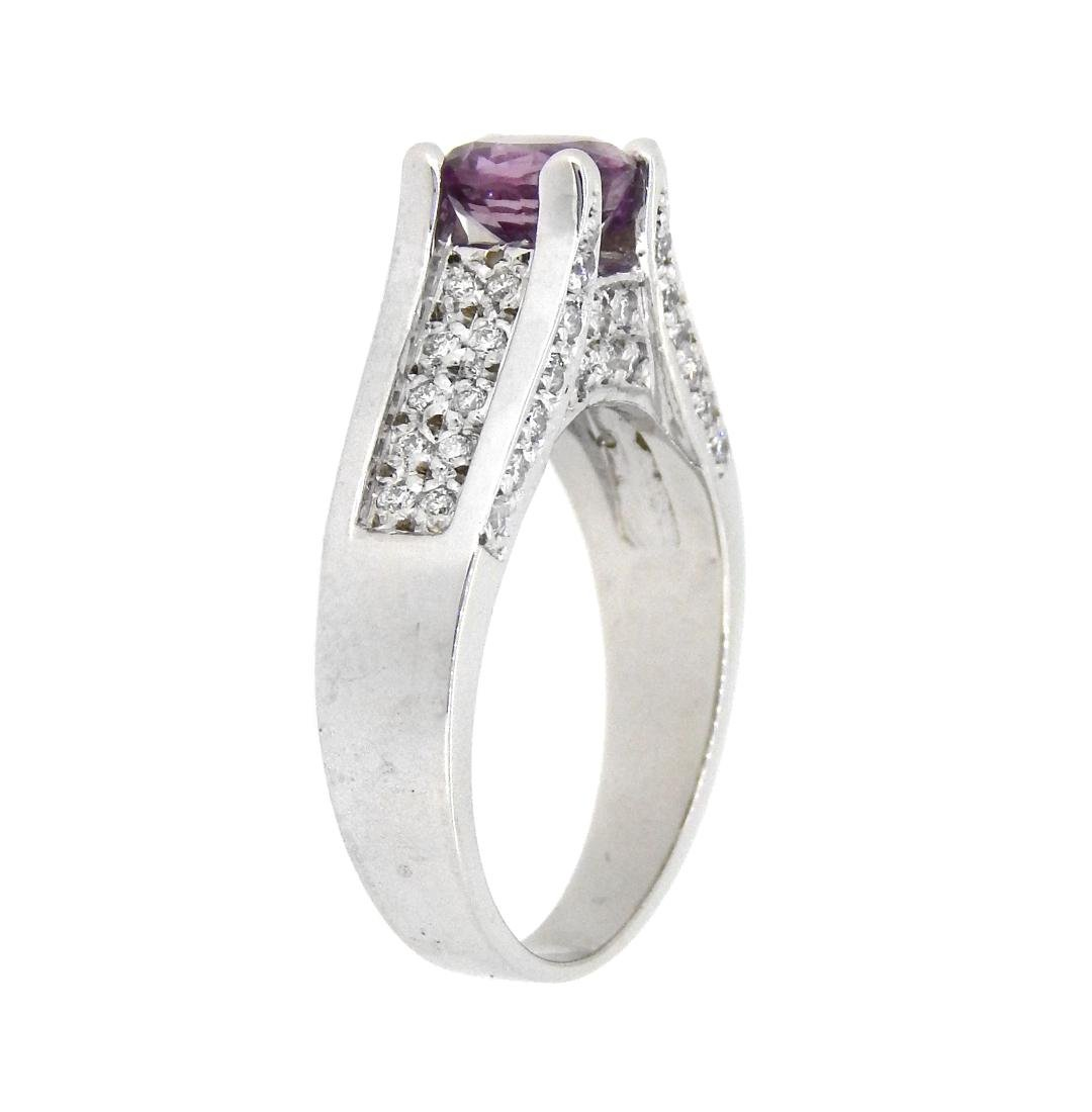 14KT White Gold 1.15ct Pink Sapphire and Diamond Ring - 2