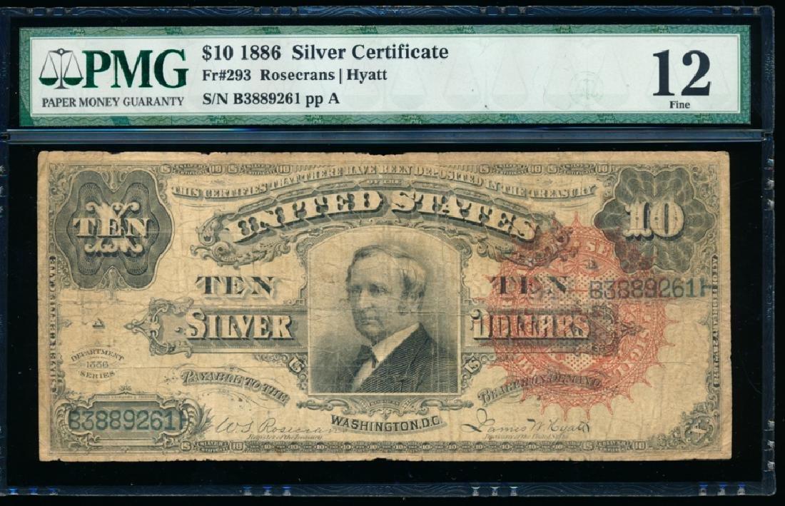 1886 $10 Silver Certificate PMG 12