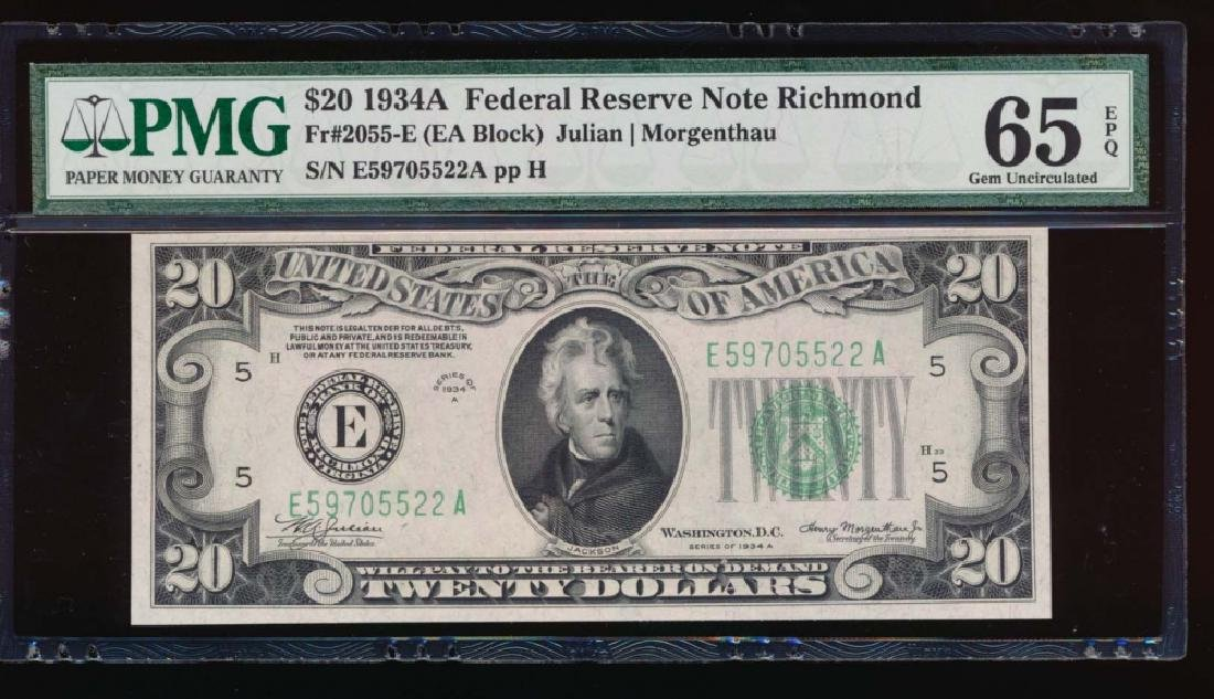 1934A $20 Richmond Federal Reserve Note PMG 65EPQ