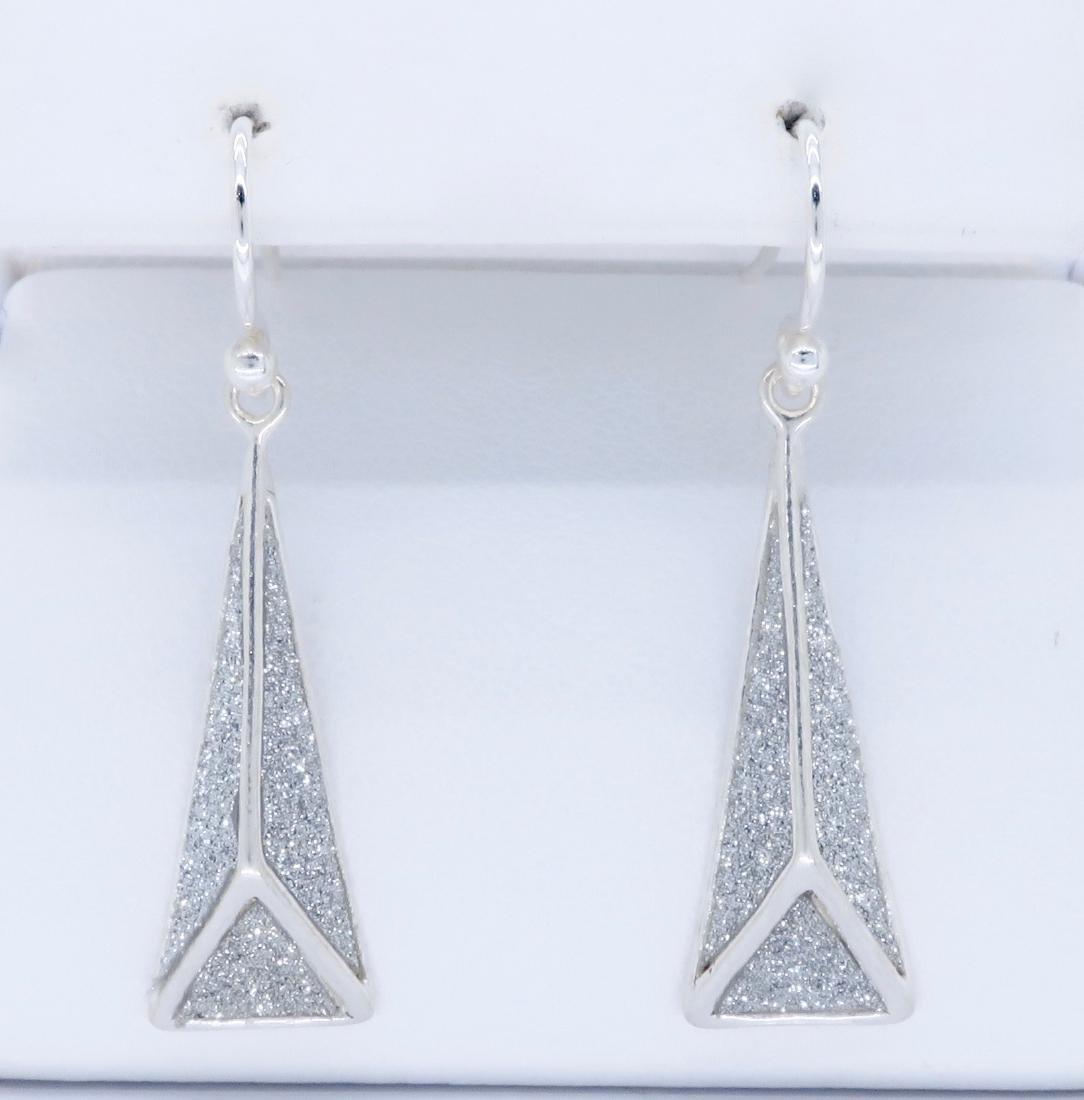 Sterling Silver Glitter Dangle Earrings - 2