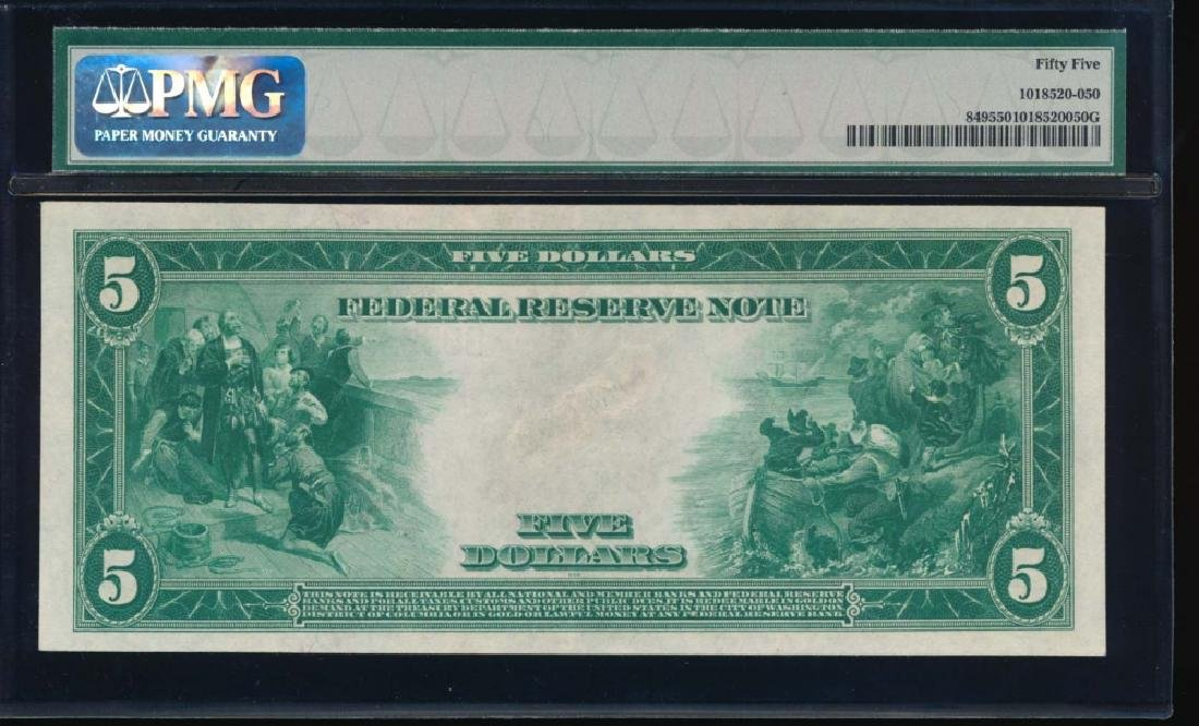1914 $5 New York Federal Reserve Note PMG 55 - 2