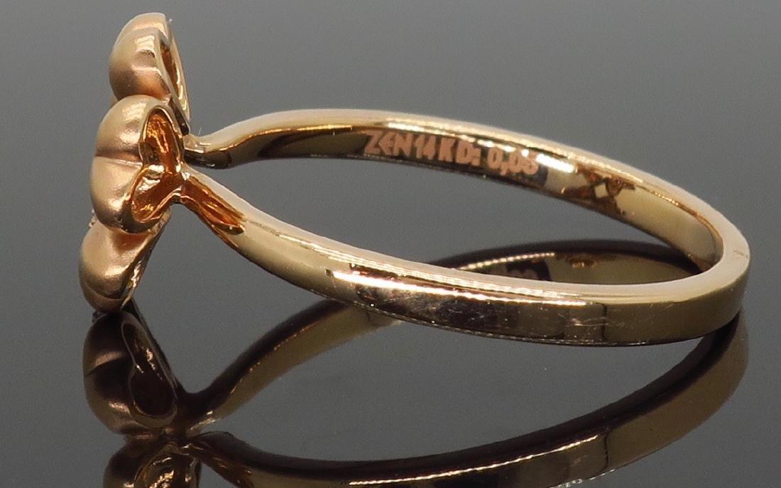 14KT Rose Gold 0.05ctw Diamond Ring - 4