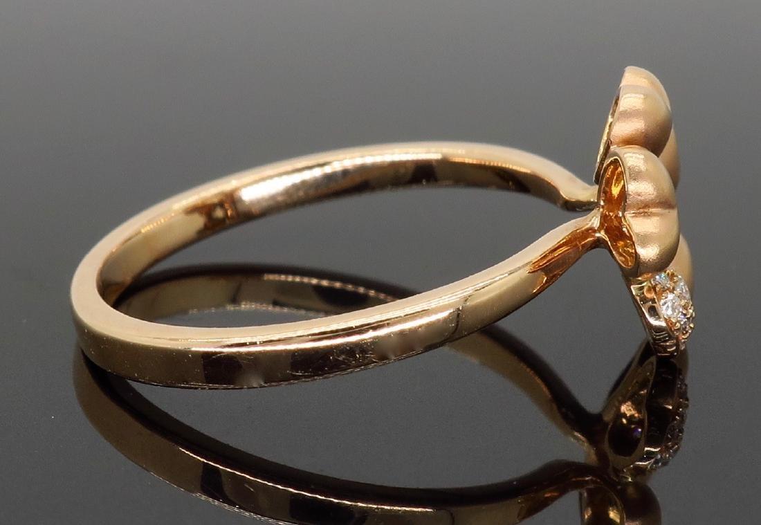 14KT Rose Gold 0.05ctw Diamond Ring - 5