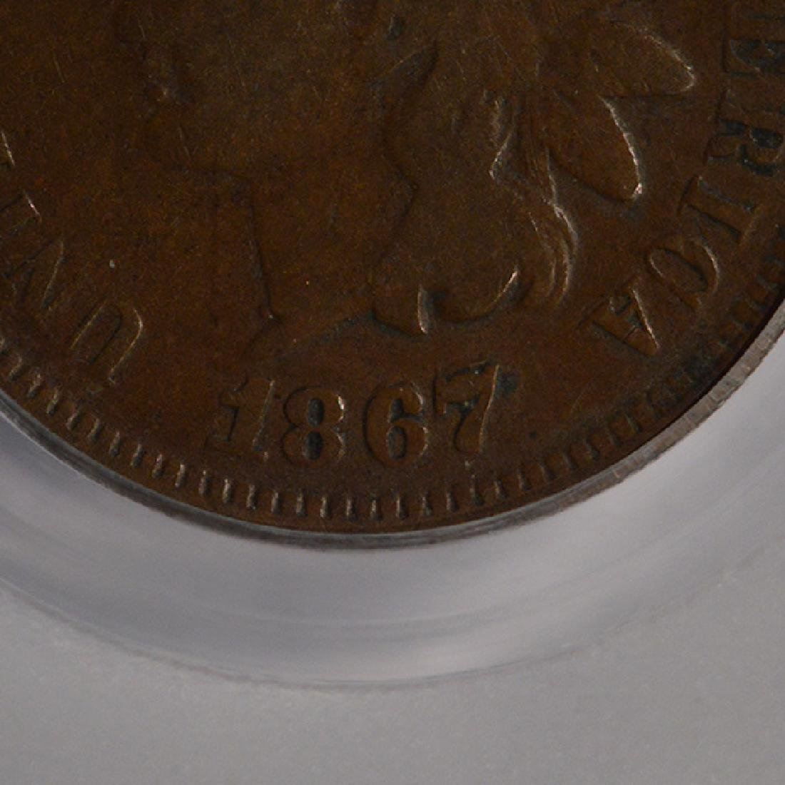 1867/67 Indian Cent Coin PCGS VG10 - 4