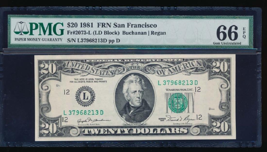 1981 $20 San Francisco Federal Reserve Note PMG 66EPQ