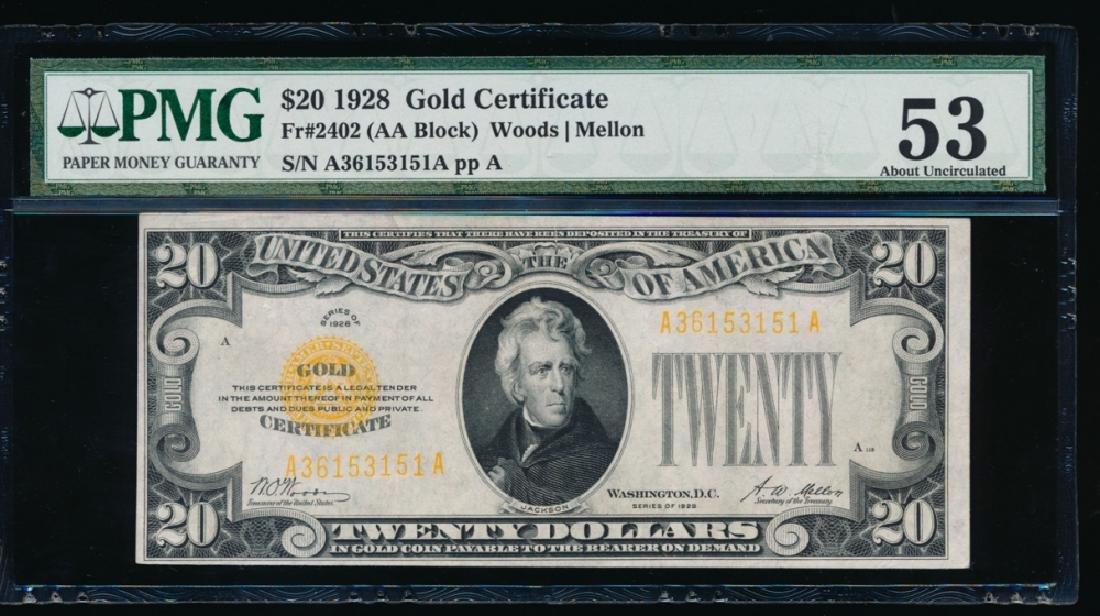 1928 $20 Gold Certificate PMG 53