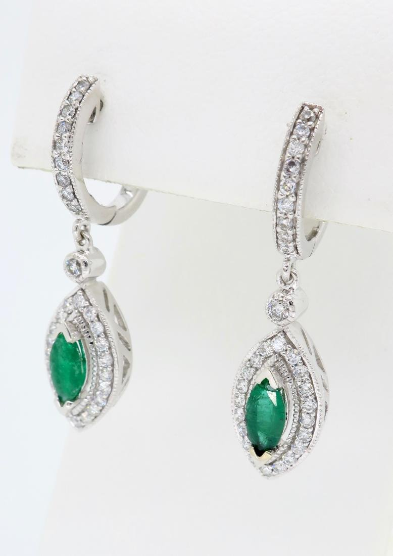 14KT White Gold Emerald and Diamond Earrings - 2