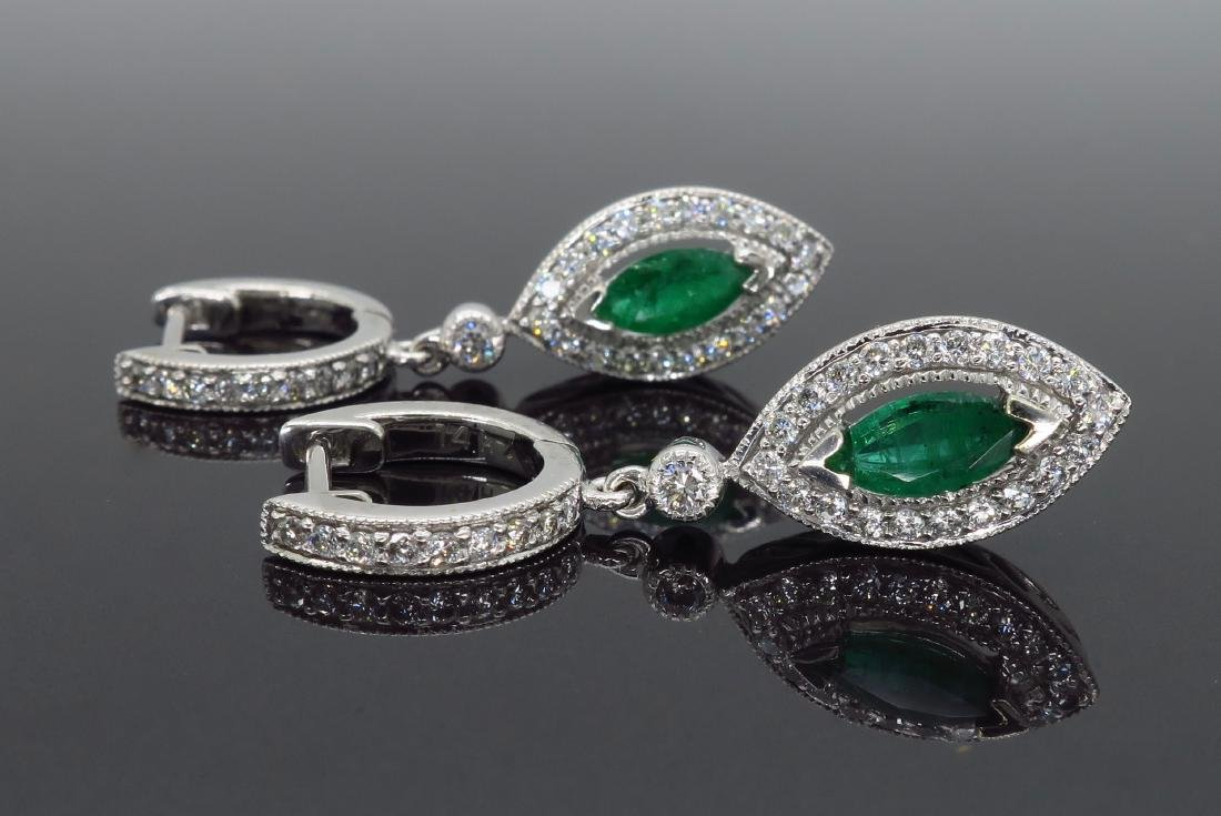 14KT White Gold Emerald and Diamond Earrings - 3