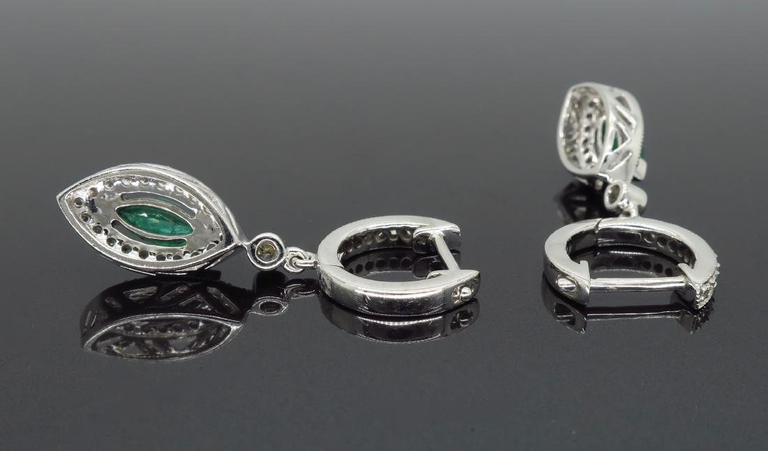 14KT White Gold Emerald and Diamond Earrings - 4