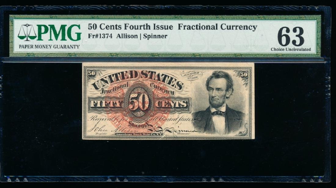 50 Cent Fourth Issue Fractional Note PMG 63