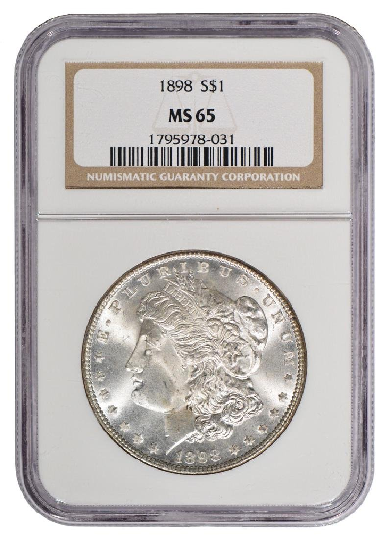 1898 $1 Morgan Silver Dollar Coin NGC MS65