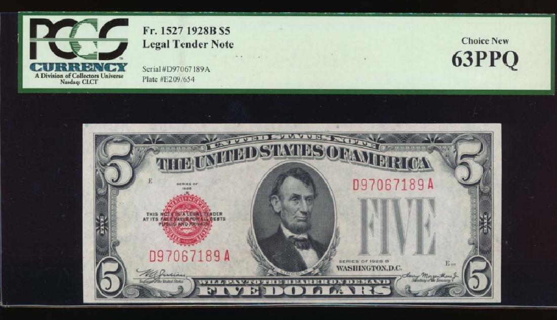 1928B $5 Legal Tender Note PCGS 63PPQ
