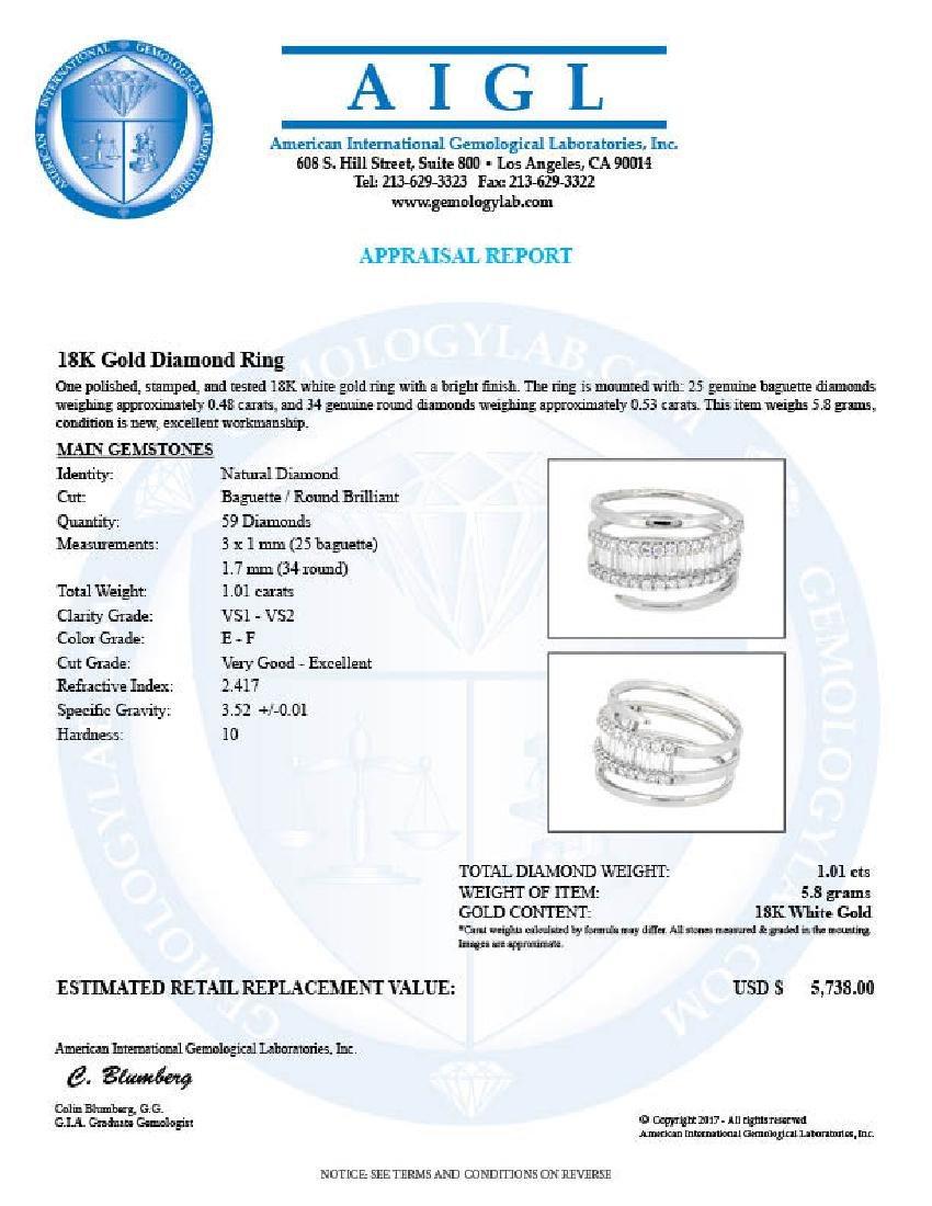 18KT White Gold 1.01ctw Diamond Ring - 3