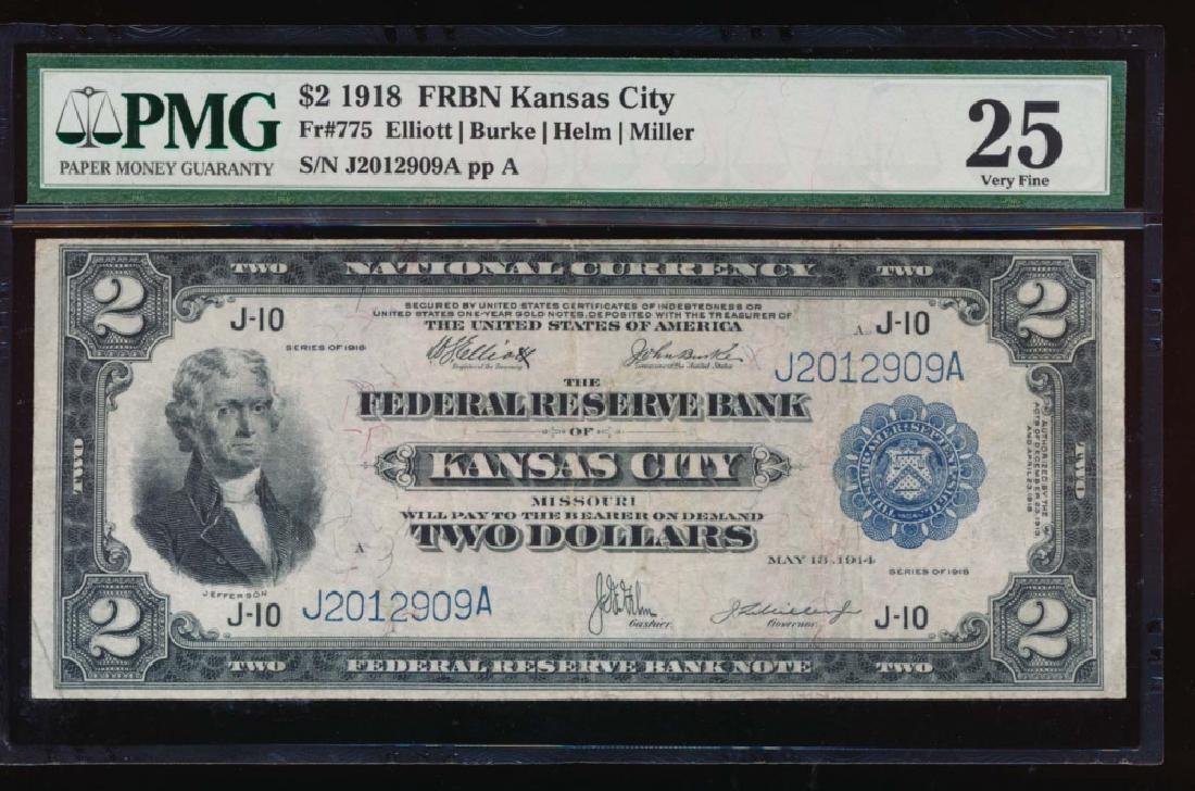 1918 $2 Kansas City Federal Reserve Bank Note PMG 25