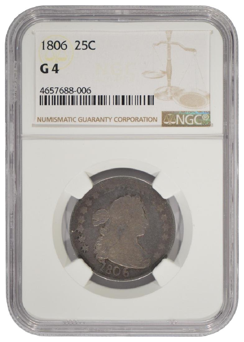 1806 Draped Bust Quarter Coin NGC G4