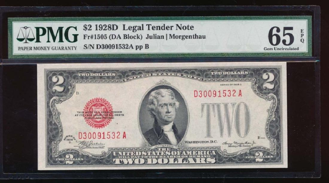 1928D $2 Legal Tender Note PMG 65EPQ