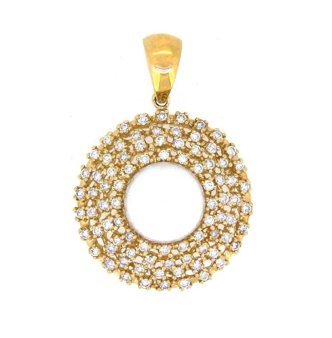 14KT Yellow Gold 12.5mm Pearl and Diamond Pendant