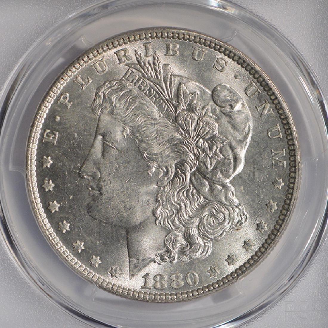 1880 $1 Morgan Silver Dollar Coin PCGS MS64 - 3