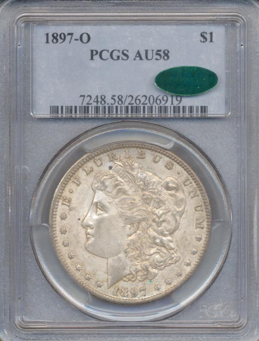 1897-O $1 Morgan Silver Dollar Coin PCGS AU58