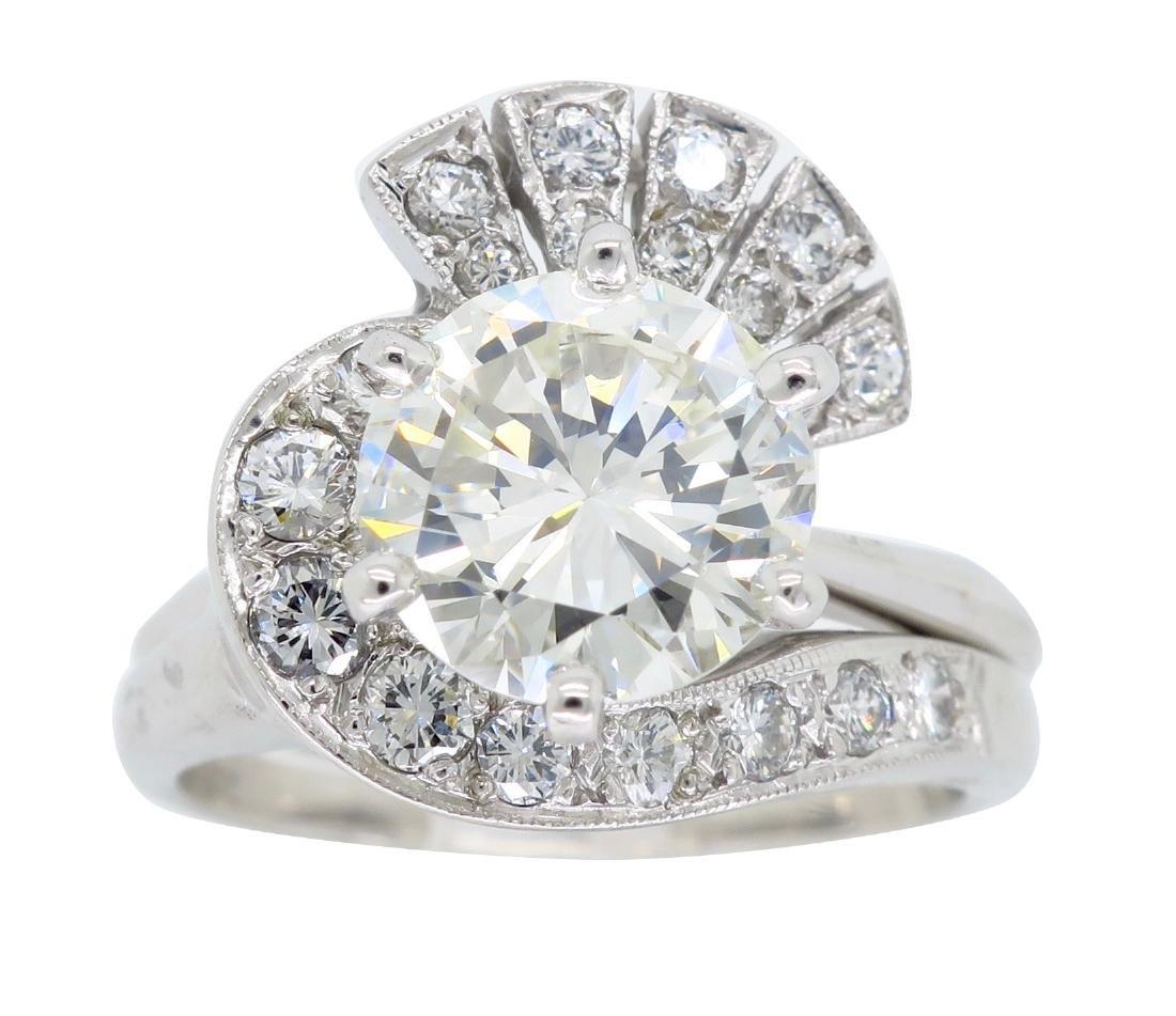 14KT White Gold GIA Cert 3.08ctw Diamond Ring