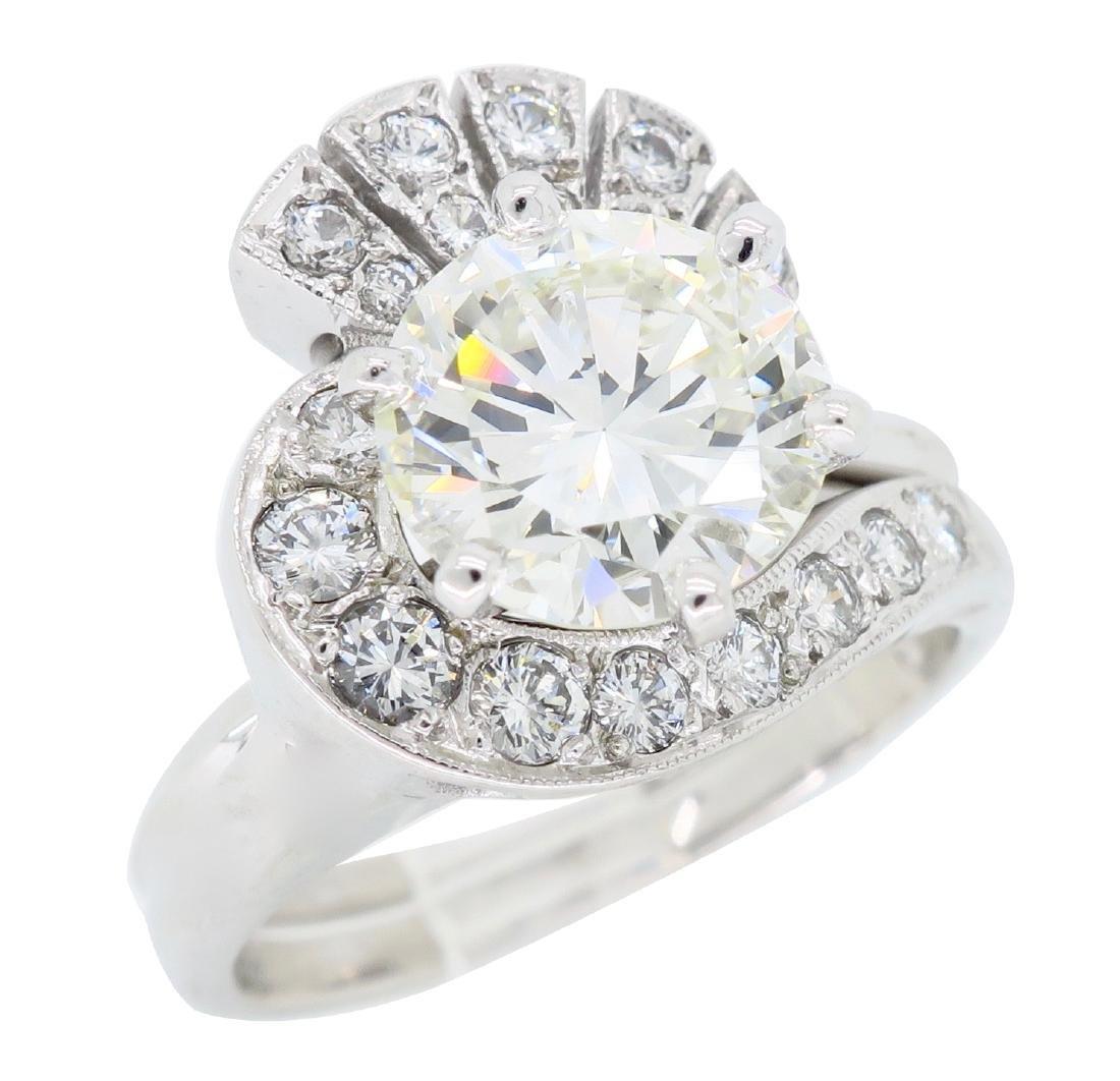 14KT White Gold GIA Cert 3.08ctw Diamond Ring - 2
