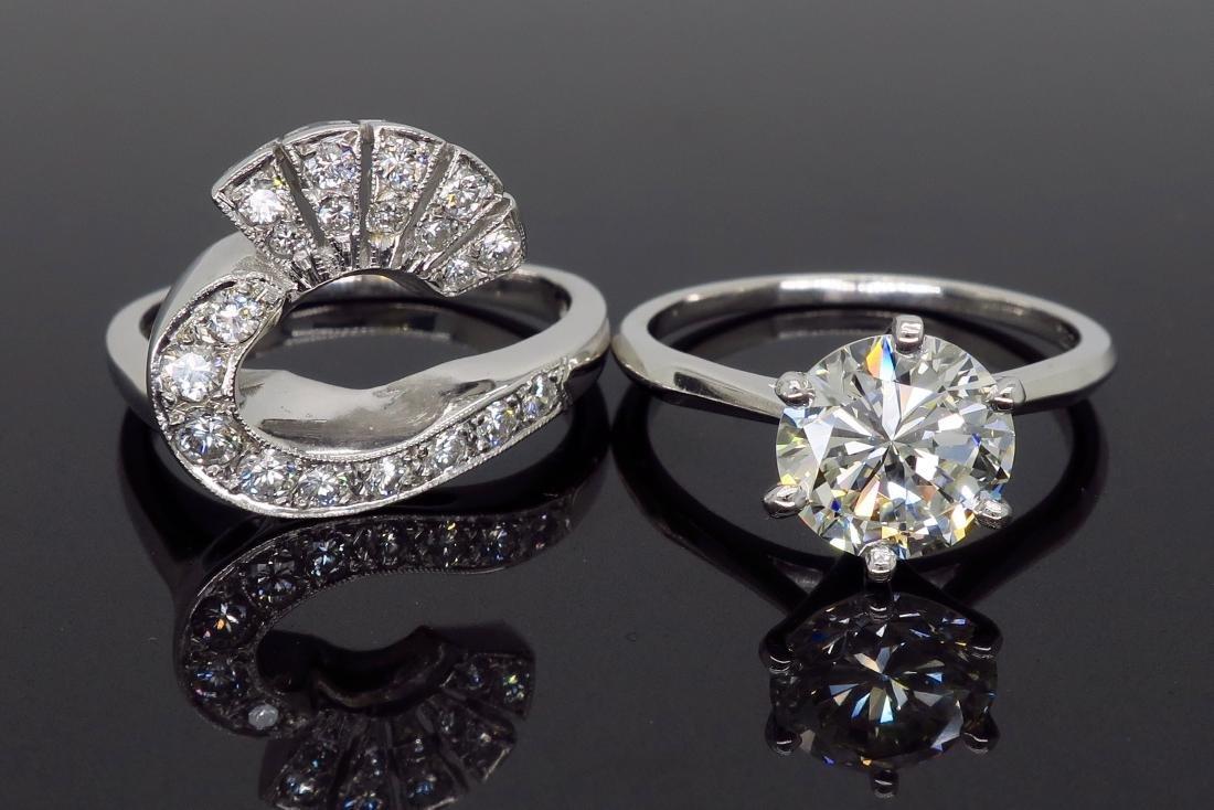 14KT White Gold GIA Cert 3.08ctw Diamond Ring - 7