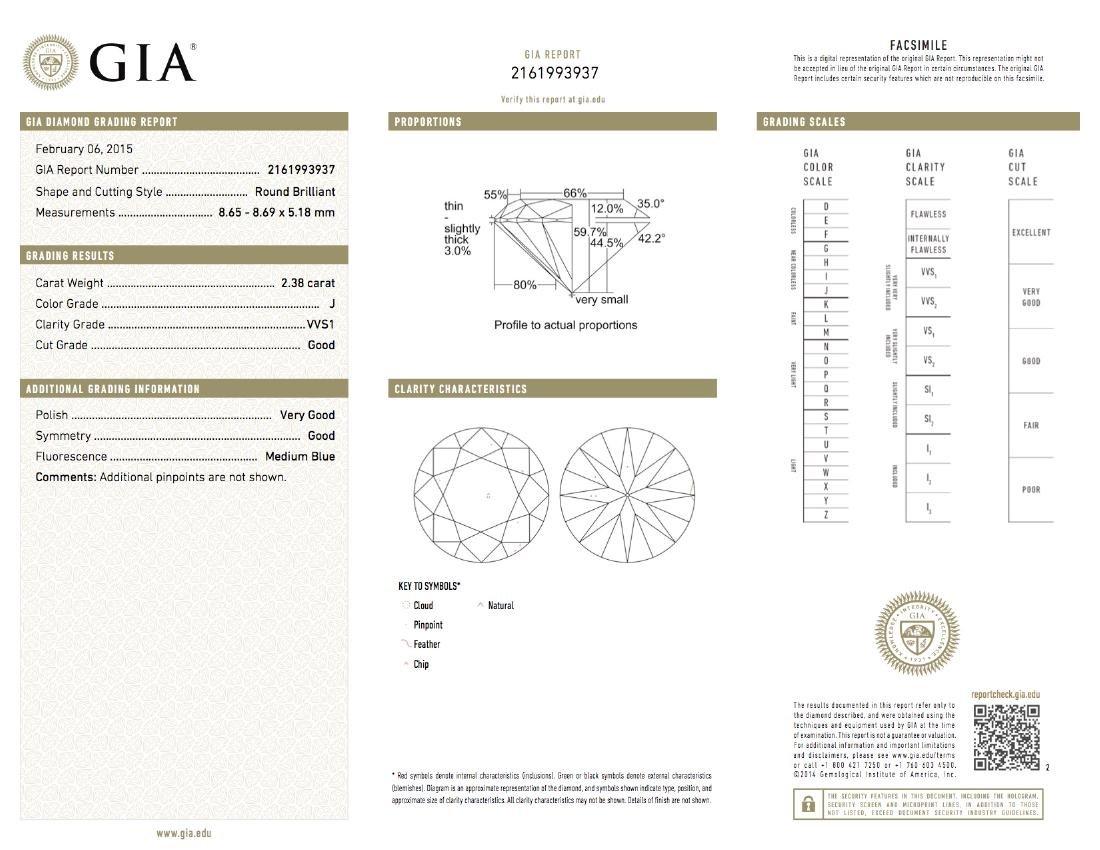 14KT White Gold GIA Cert 3.08ctw Diamond Ring - 9