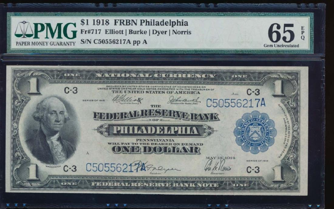 1918 $1 Philadelphia Federal Reserve Bank Note PMG