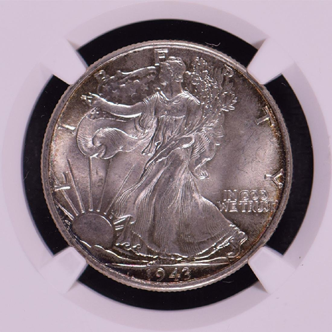 1943 Walking Liberty Half Dollar Coin NGC MS65 - 3