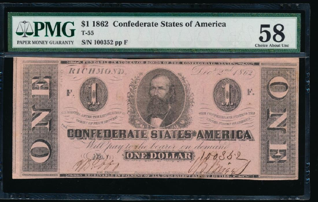 1862 $1 Confederate States of America Note PMG 58