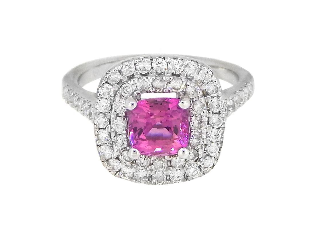 18KT White Gold 1.13ct GIA Cert Pink Sapphire and