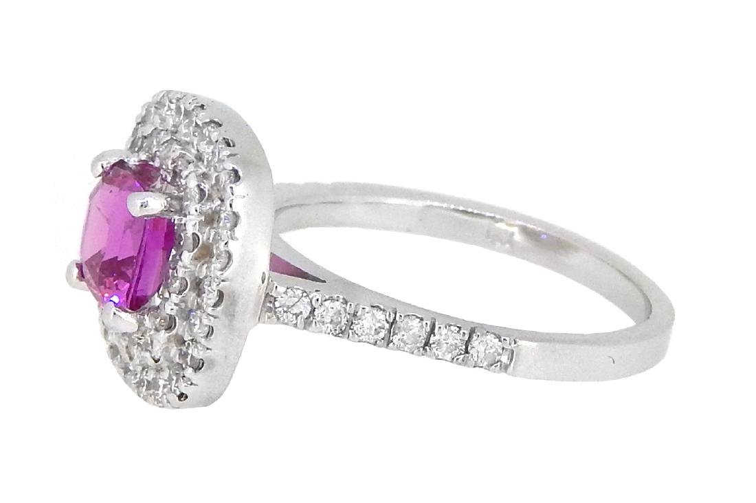 18KT White Gold 1.13ct GIA Cert Pink Sapphire and - 2