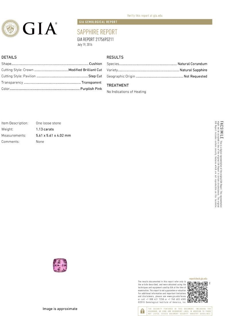 18KT White Gold 1.13ct GIA Cert Pink Sapphire and - 4