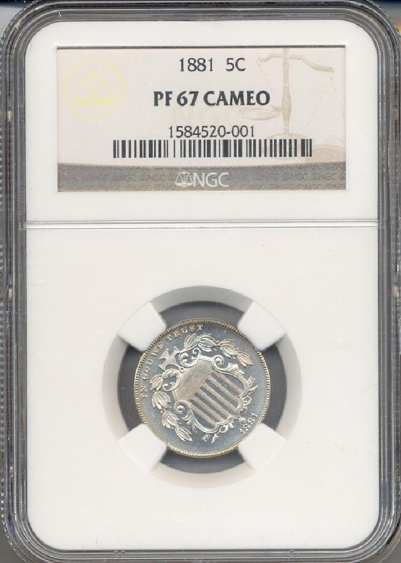 1881 Five Cent Coin NGC PF67 Cameo