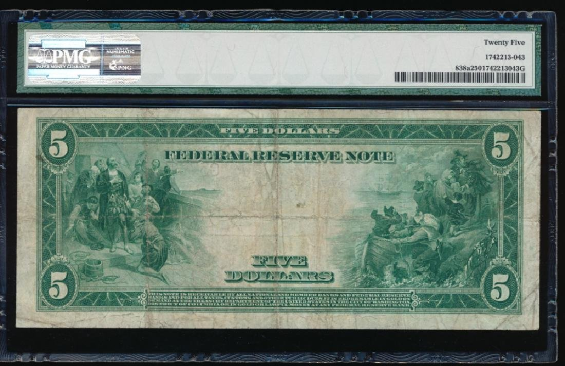 1914 $5 Chicago Red Seal Federal Reserve Note PMG 25 - 2