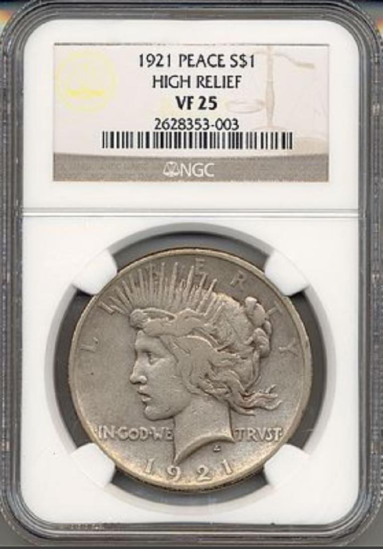 1921 $1 Peace High Relief Silver Dollar NGC VF25