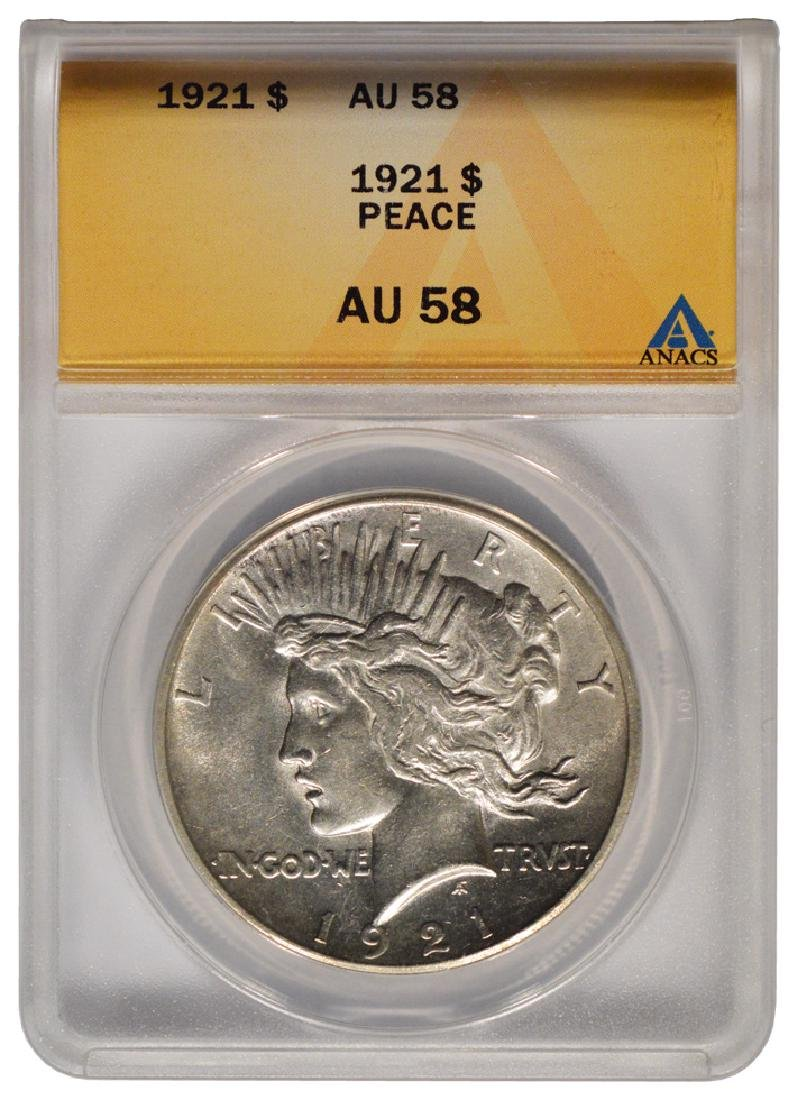 1921 $1 Peace Silver Dollar Coin ANACS AU58