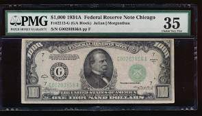 1934A 1000 Chicago Federal Reserve Note PMG 35