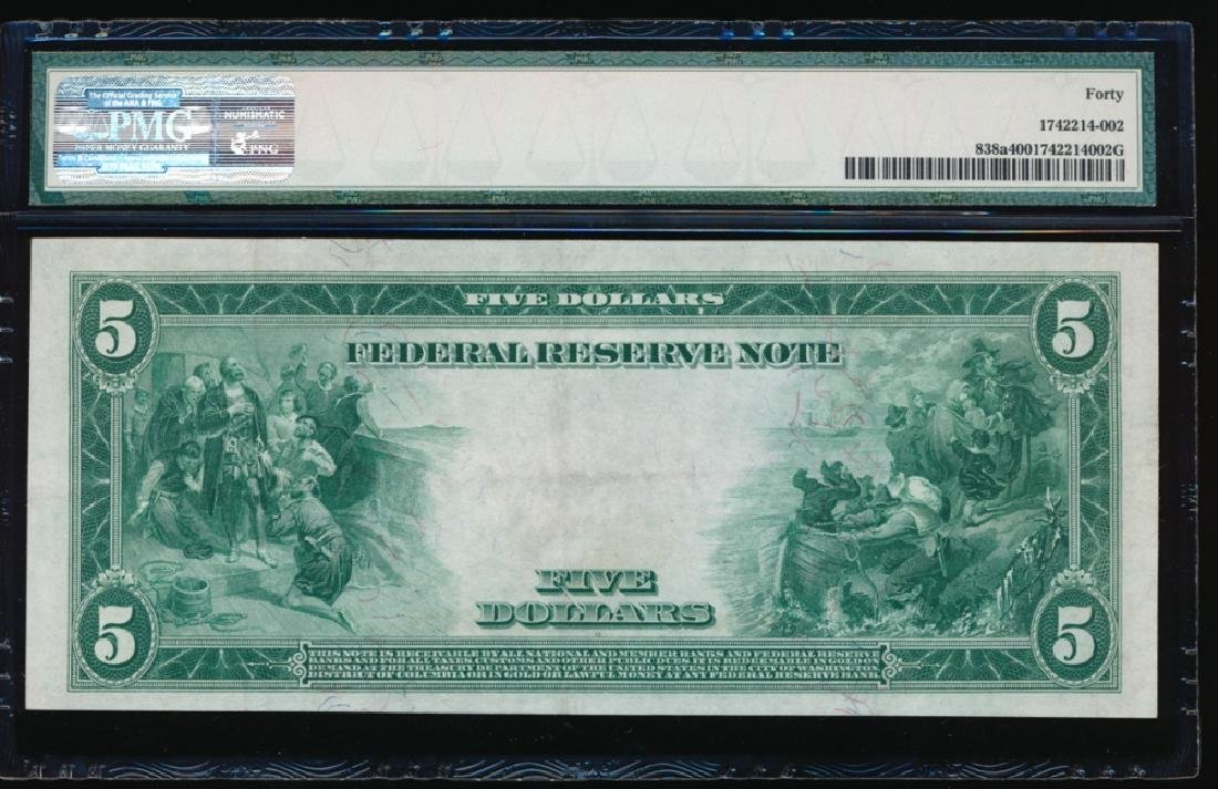 1914 $5 Chicago Red Seal Federal Reserve Note PMG 40 - 2
